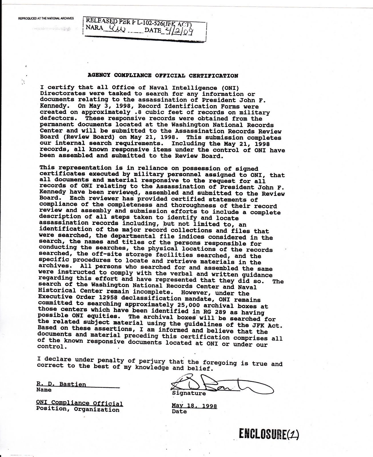 jfkcountercoup oni arrb separate jfk act compliance certifications