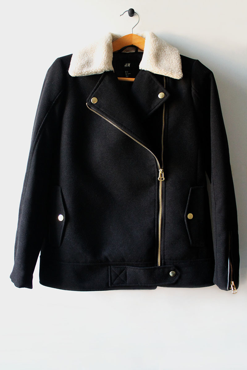 H&M, jacket, fur collar, low cost