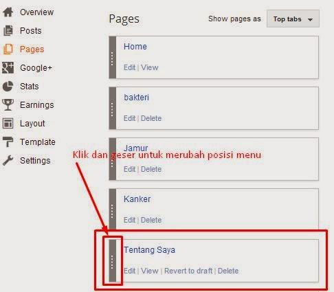 cara membuat menu di blogger