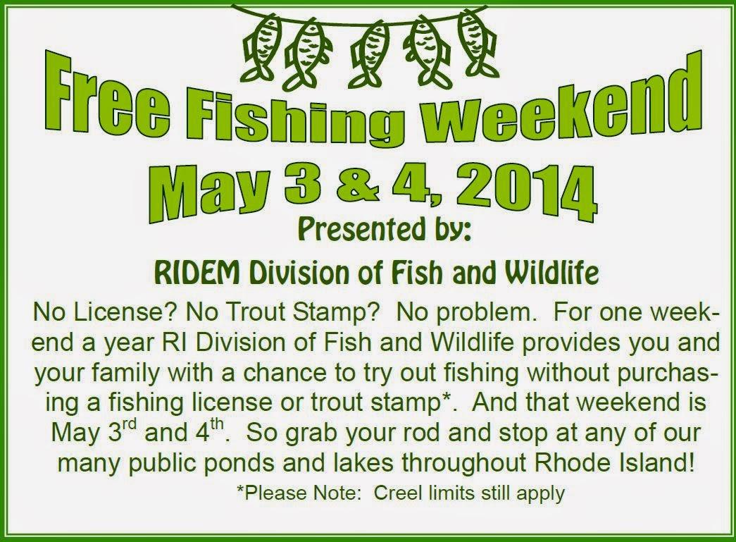 Progressive charlestown free fishing may 3 4 for Rhode island saltwater fishing license