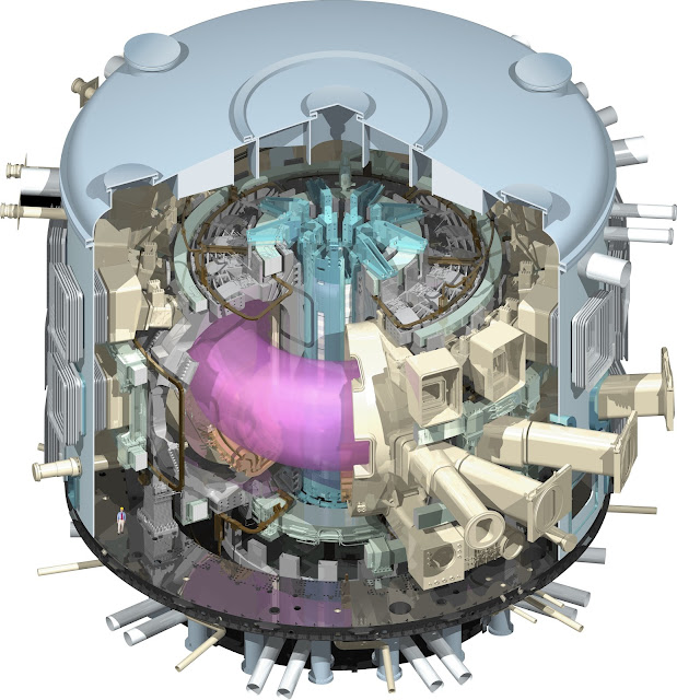 A detailed cutaway of the ITER Tokamak, with the hot plasma, in pink, in the centre. © ITER Organization
