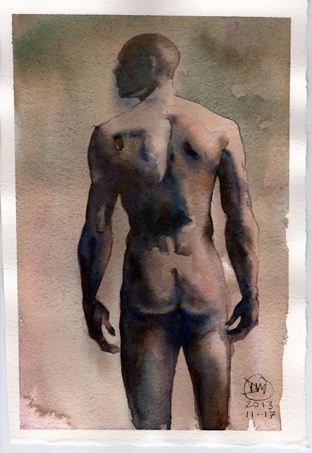 Watercolour nude by David Meldrum