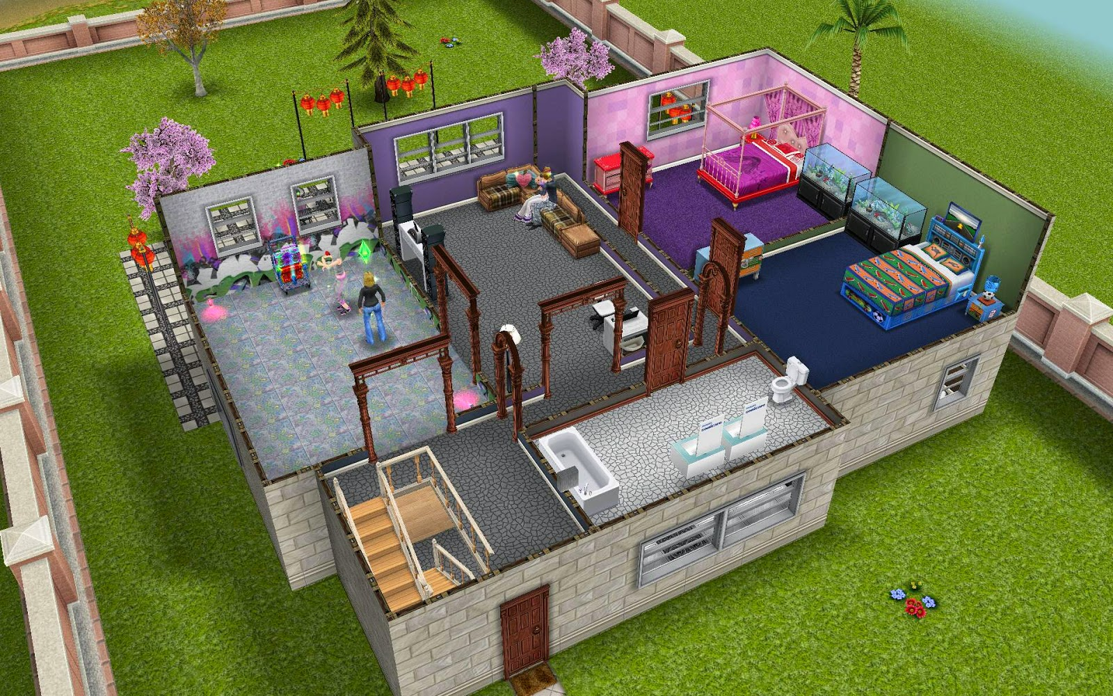 First door on the L shaped hall is a bathroom with two his and her  vanities  courtesy of Philips Sonicare  And of course the kids can retreat  to their. Sims Freeplay Housing  Dance Villa