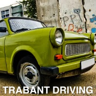 A picture of the drivers side green Trabant car