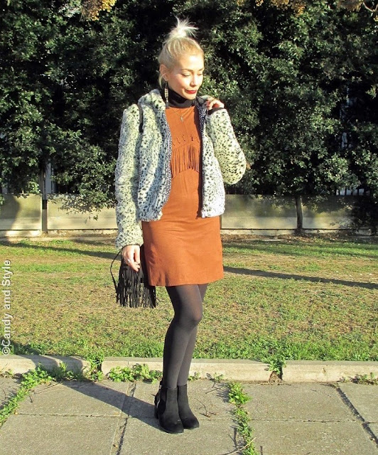 LeopardFauxFur+SuedeFringedDress+AnkleBoots+FringedBag+TopKnot+RedLips - Lilli Candy and Style Fashion Blog