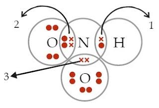 struktur Lewis asam nitrit (HNO2)