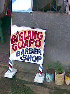 Kung gusto mo maging pogi o gwapo barbershop  funny sign