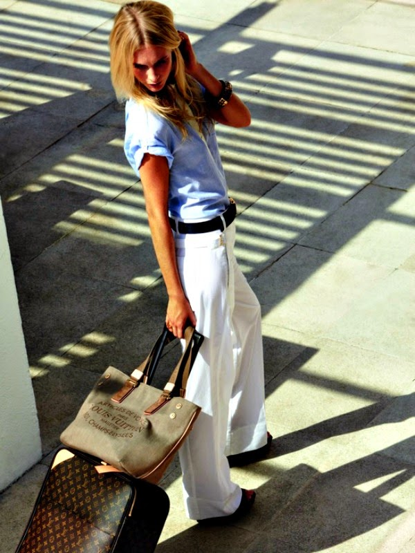 white pants with chambray top