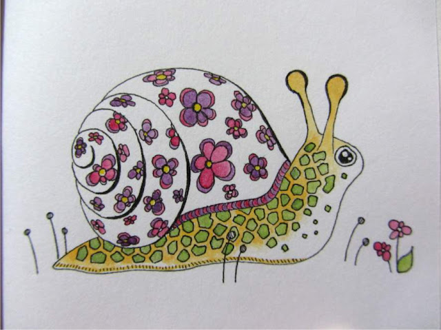 watercolour painting of a snail