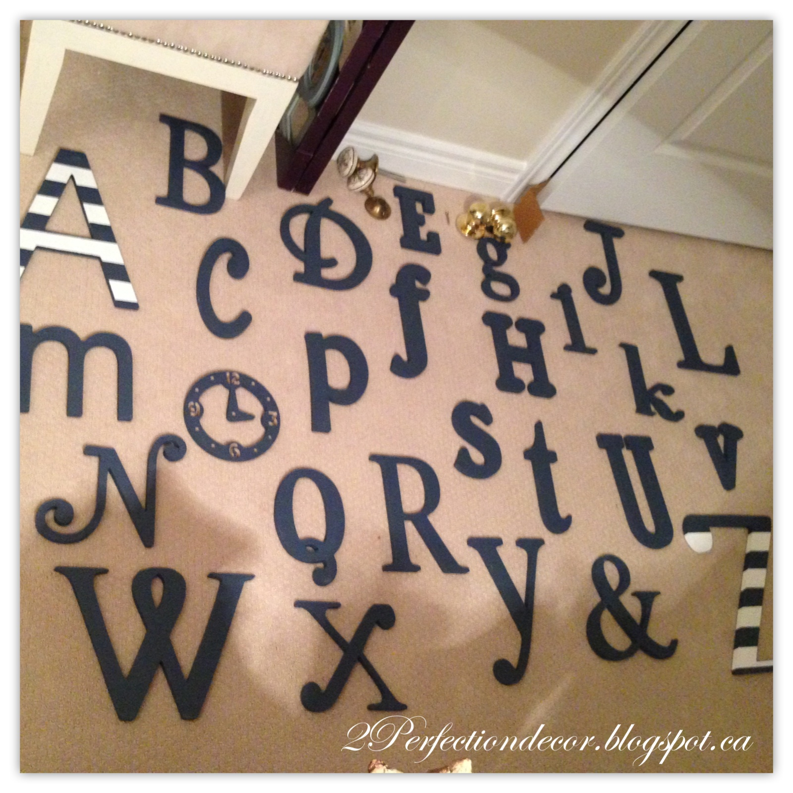 Perfect Then came the tough part HOW TO HANG THE WOODEN LETTERS