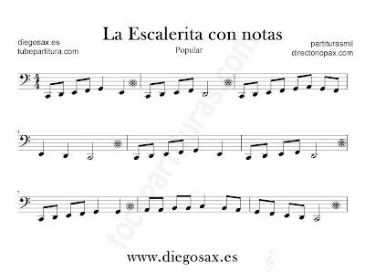 La escalerita con notas partitura para Trombón, Tuba, Violonchelo, Fagot, Bombardino... en Clave de Fa