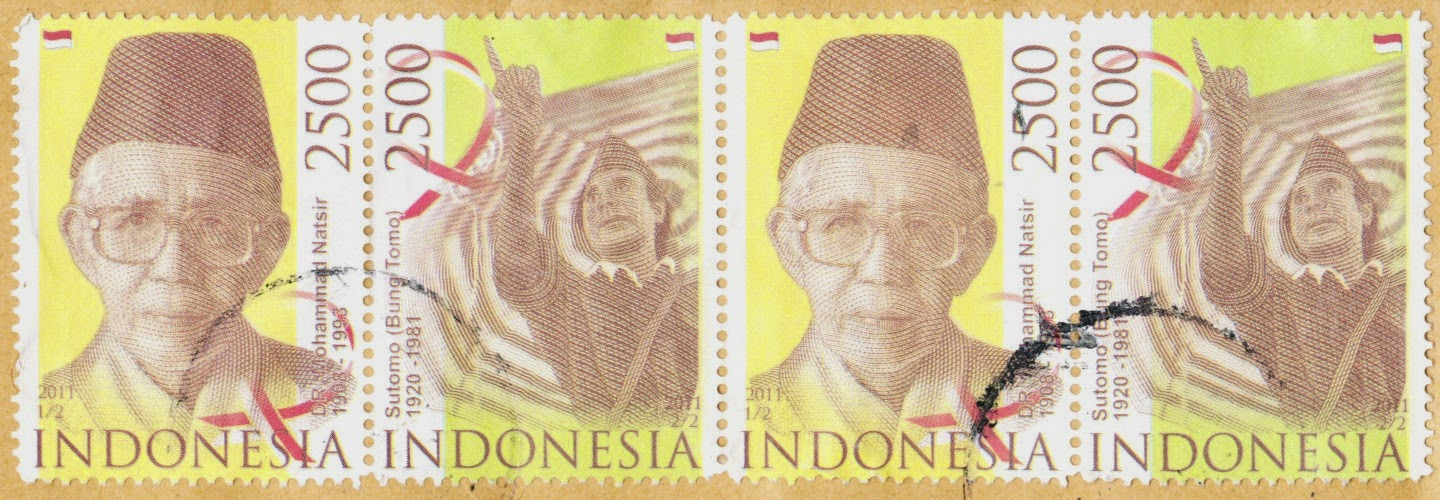 stamps, indonesia, mohammad natsir, sutomo