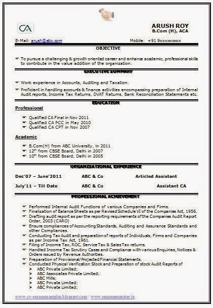 Over 10000 CV and Resume Samples with Free Download Qualified CA Resume
