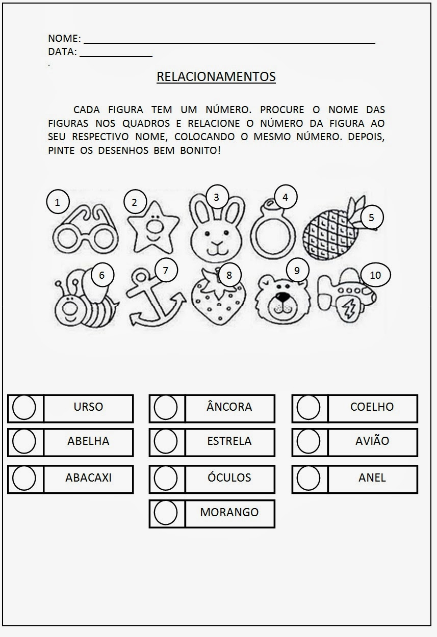 Atividades Educativas Alfabetização -Relacione as figuras ao seu nome