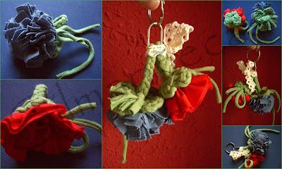 reciclar camisetas en llavero de flores-