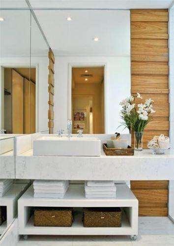 10 banheiros e lavabos pequenos  Reciclar e Decorar  Blog de Decoração e Re -> Cesta Para Pia De Banheiro