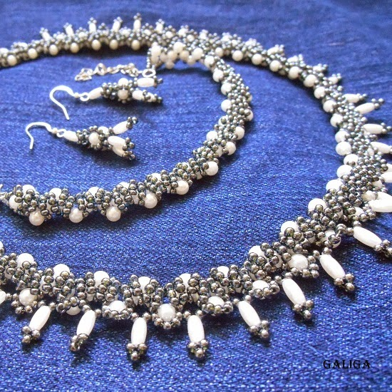 set Beaded, pearl, gray
