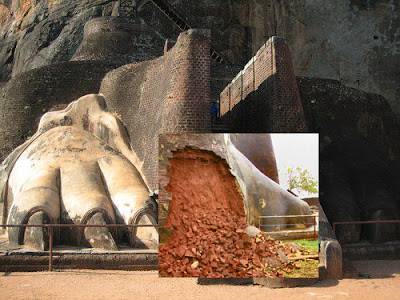 Sigiriya Lion's paw at the entrance  has been dameged