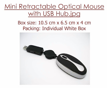 CENTRUM LINK - Mini Retractable Optical Mouse With USB HUB