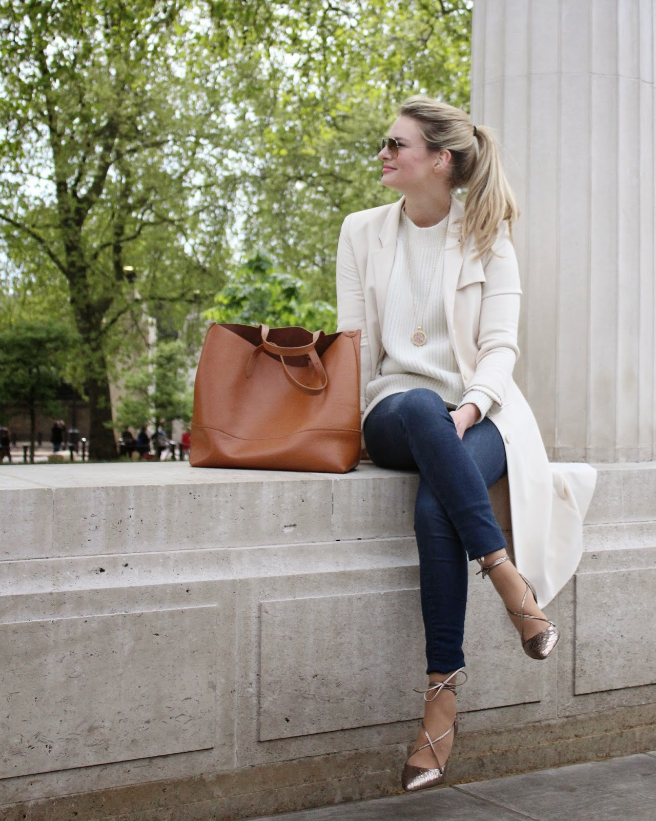 lace up heels, skinny jeans, trench coat, and other stories trench coat, white jumper, all saints white jumper, mid season sale finds, london blogger, j crew bag