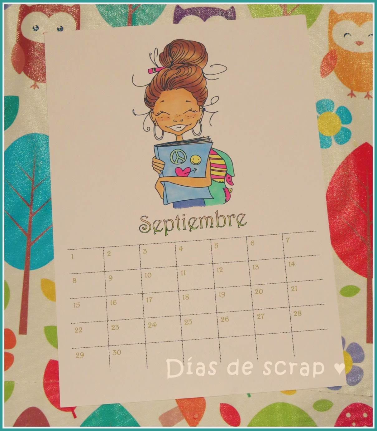scrap calendario septiembre saturated canary