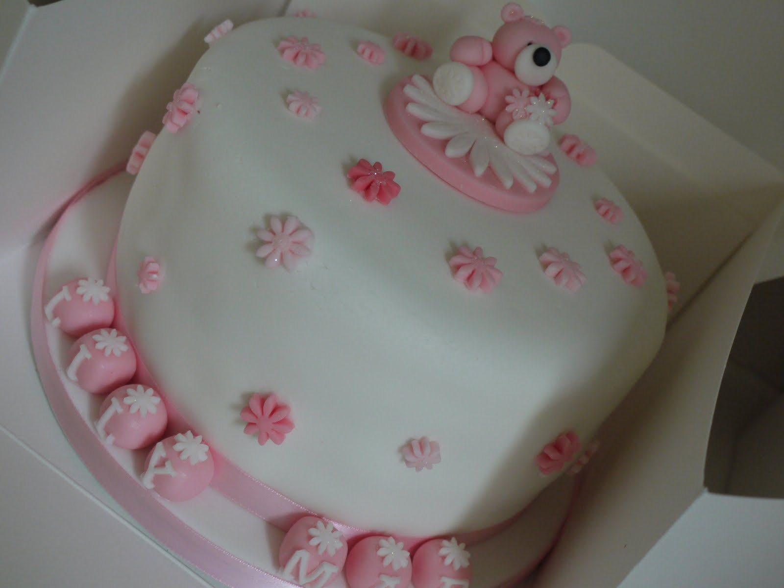 for the love of food baby girl christening cake