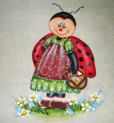 pintura em tecido joaninha