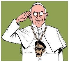 papa Francisco com imagem na roupa do general Videla