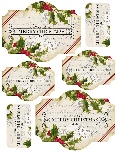 Labels+~+merry+christmas+~+holly+stripes+~+lilac n lavender