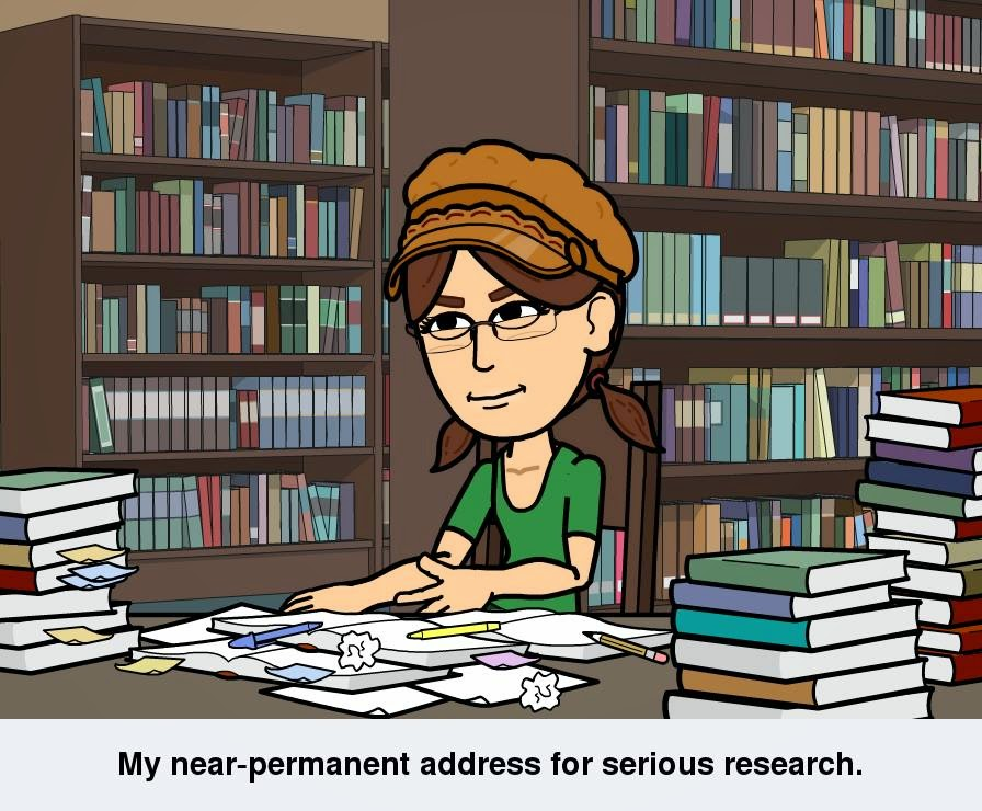 "Cartoon version of Cynthia M. Parkhill, created with Bitstrips app, sits at a table with paper and pencils in front of her, surrounded by stacks of books. Rows of shelves, filled with books, are in the background. The caption reads, ""My near-permanent address for serious research."""