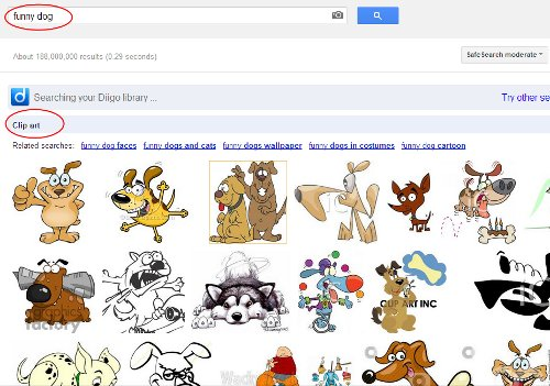filter image search for clipart only