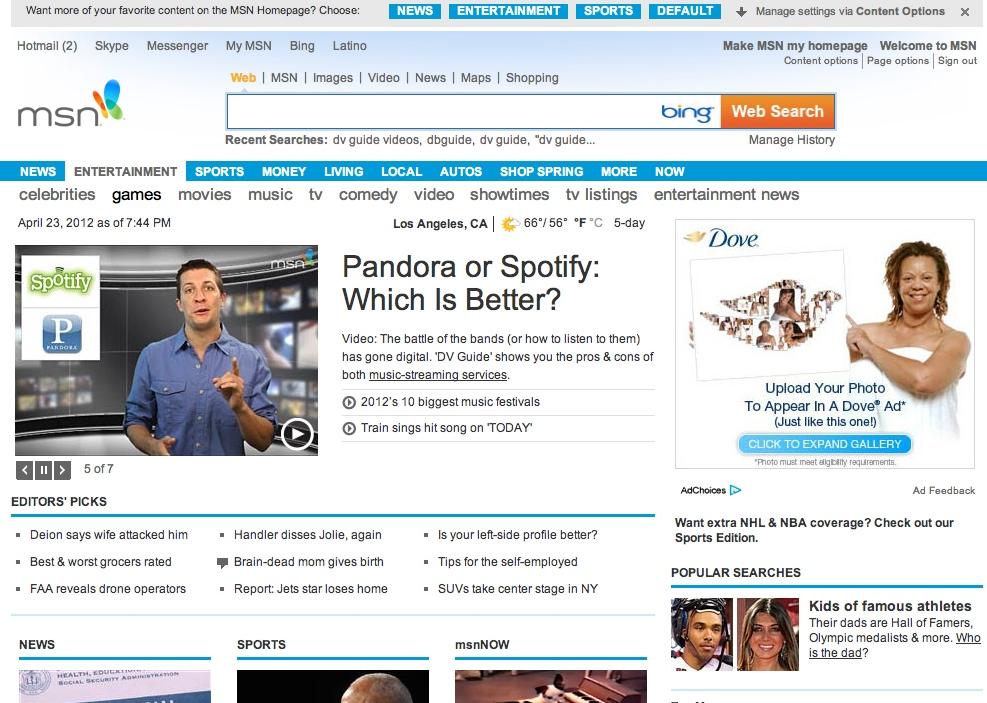 Renegade Reporting: MSN DV Guide: Week in Review (Pandora vs. Spotify ...