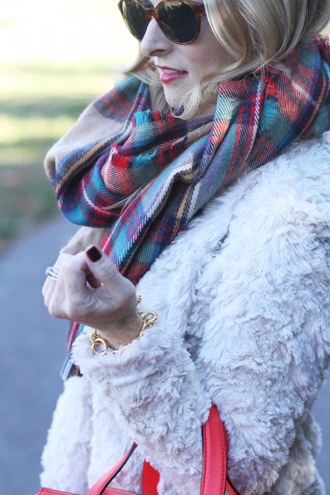 red plaid scarf, dylan faux fur, red lipstick