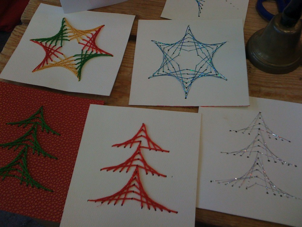 3rd Grade Christmas Craft Ideas Part - 50: Crafting With 3rd Graders - Stitched Christmas Cards
