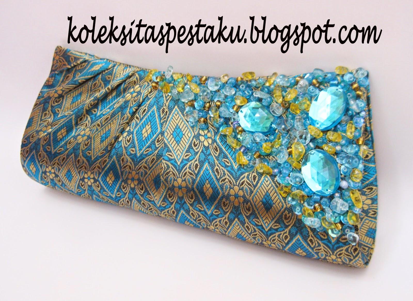 Biru Tosca Cantik dan Anggun Koleksi Tas Pesta Ku Songket Siap Buat Paket Hantaran