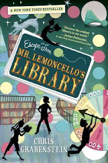 Book cover, 'Escape from Mr. Lemoncello's Library' by Chris Grabenstein. Black-sillouette characters read books and wrestle with the pointer hand of a roulette-style wheel in a library