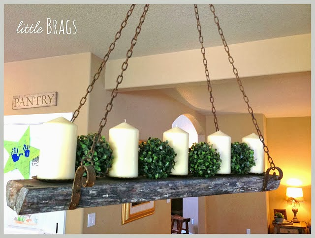 Reclaimed wood candle chandelier by Little Brags featured on http://www.ilovethatjunk.com