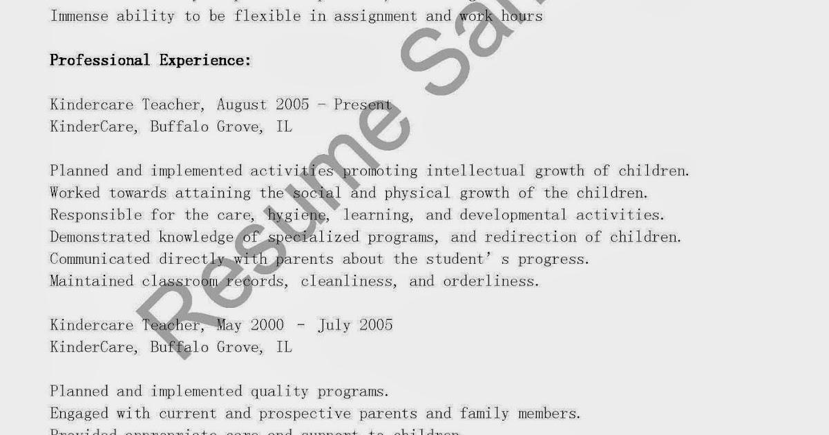 Resume Samples Kindercare Teacher Resume Sample