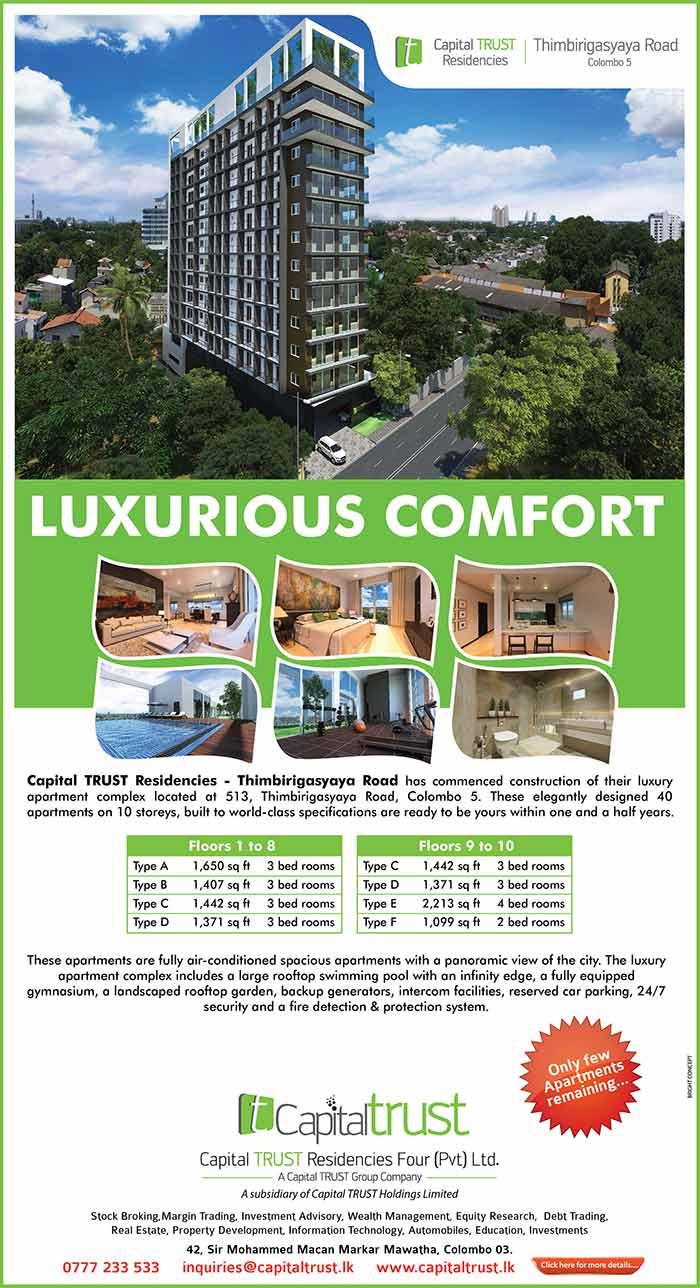 Luxury living in Thimbirigasyaya Road, Colombo 05.