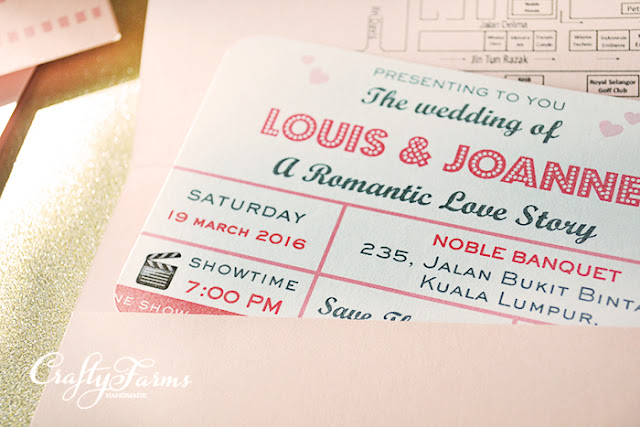Pink Retro Movie Ticket Themed Wedding Invitation Card