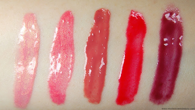 Sephora Collection Izak Mini Lip Gloss Set Candy Floss, Sunset, Tea Rose, Fiesta Red, Berrylicious Swatches