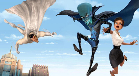"Metro Man flying to Roxanne's rescue ""Megamind"" 2010 animatedfilmreviews.blogspot.com"