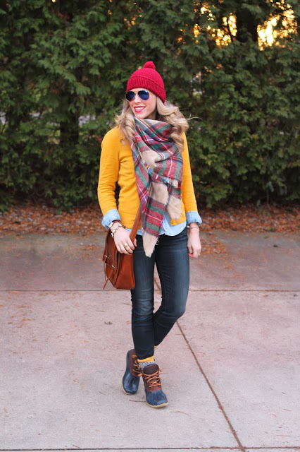 Mustard cardigan, blanket scarf, and duck boots for fall