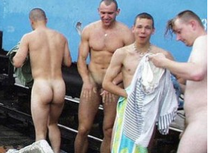 Pics Of Straight Russian Men Washing Naked By A Train
