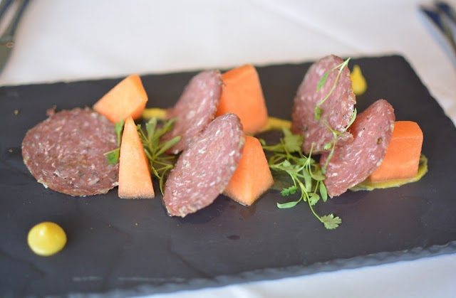 Kensington roof gardens, Review, Babylon restaurant, Creedy carver duck and cointreau salami