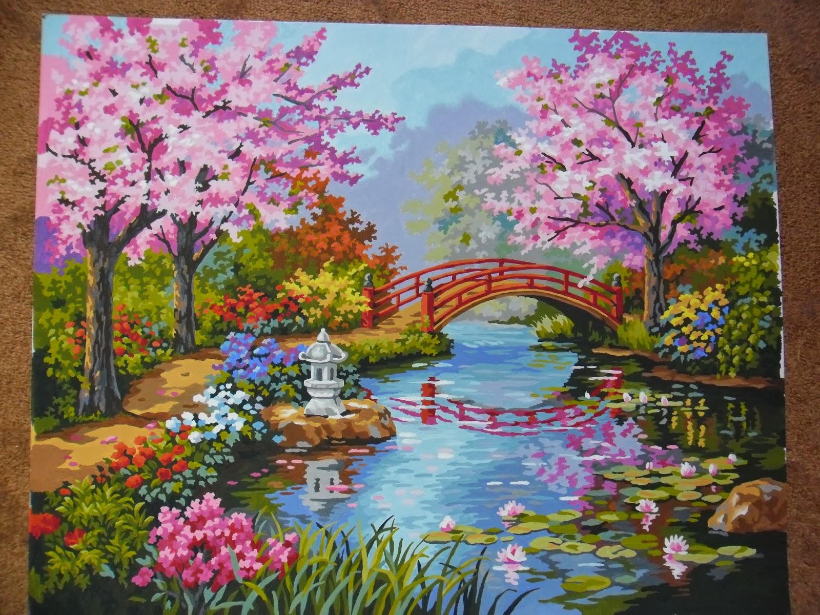 Схема к вышивке японский сад