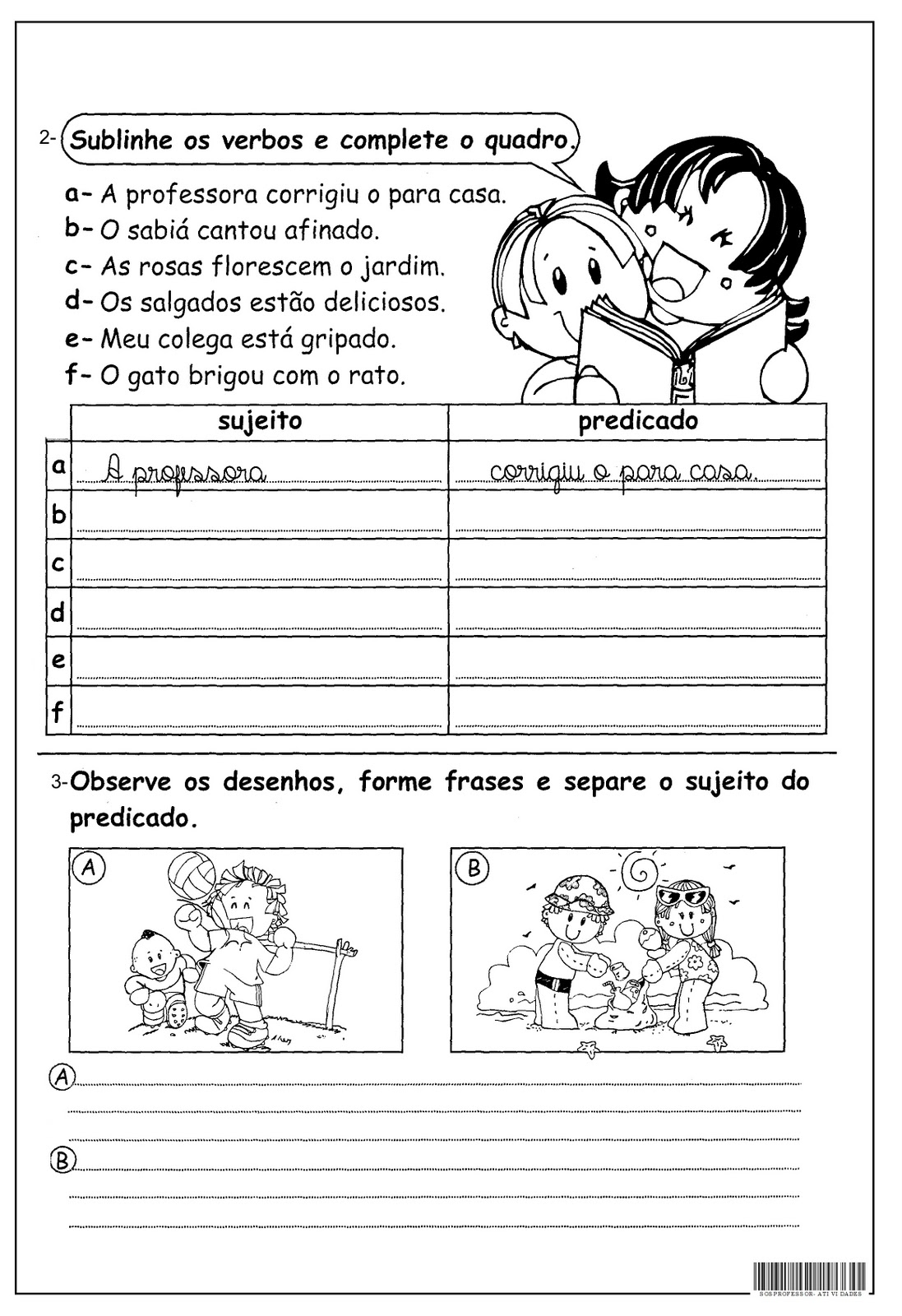 Sujeito Predicado Atividades Ling Portuguesa Imprimir   8