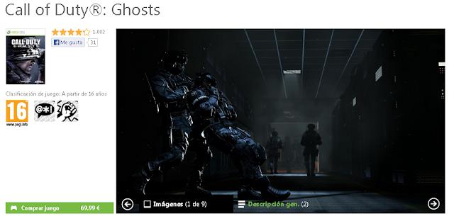 El juego Call of Duty: Ghosts cuesta 69,99€ en el Bazar de España