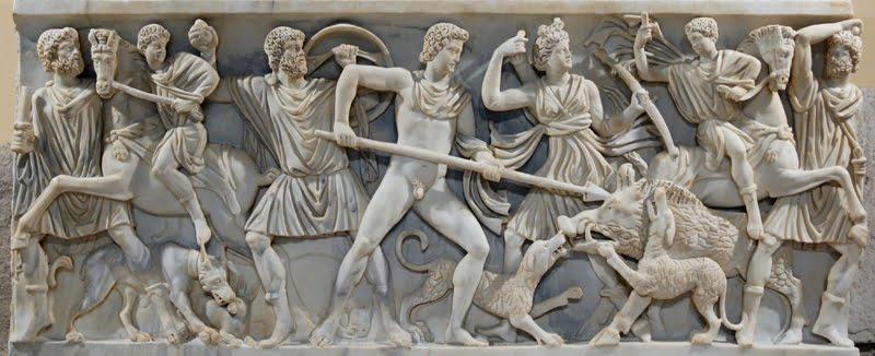 La matanza del gorrino. Retablo en piedra romano