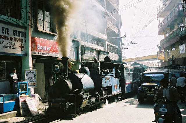 DHR Locomotive 780, with an excursion train, passing through Kurseong Bazar